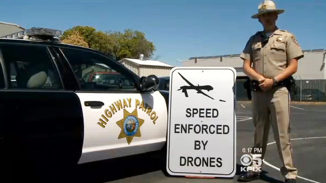 Speed Enforced by Aerial Drones